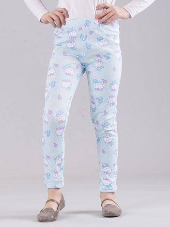 Jasnoniebieskie legginsy dziewczęce z nadrukiem HELLO KITTY
