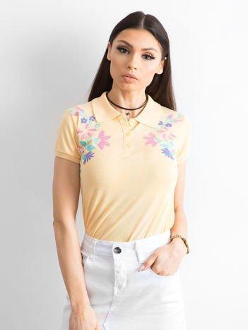 Jasnopomarańczowa koszulka polo z kolorowym kwiatowym printem