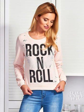 Jasnoróżowa bluza ROCK N ROLL