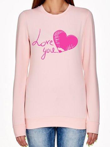 Jasnoróżowa bluza z napisem LOVE YOU