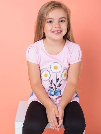 Jasnoróżowa bluzka dla dziewczynki w kwiaty