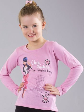 Jasnoróżowa bluzka dziewczęca z nadrukiem MIRACULOUS