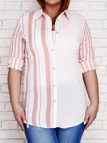 Jasnoróżowa koszula w paski i grochy PLUS SIZE