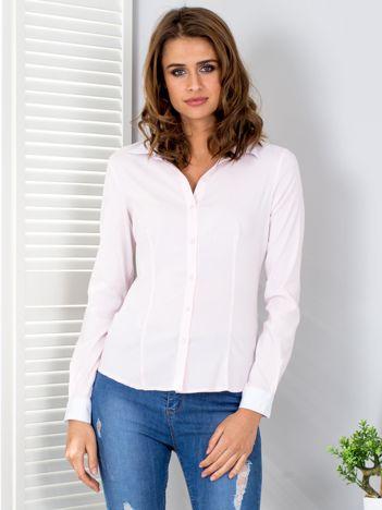 Jasnoróżowa koszula w paski z kontrastowymi mankietami PLUS SIZE