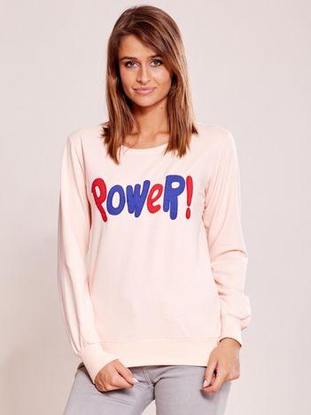 Jasnoróżowa lekka bluza z naszywką POWER