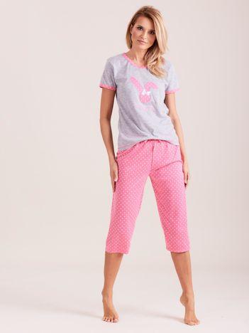 Jasnoróżowa piżama damska w grochy