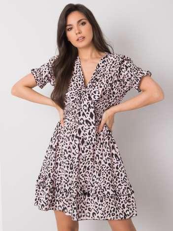 Jasnoróżowa sukienka w cętki Irene