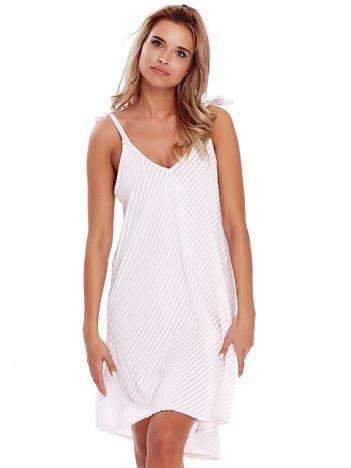 Jasnoróżowa sukienka w paski wiązana na ramionach