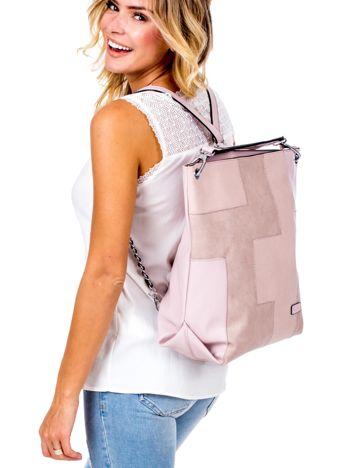 Jasnoróżowa torba-plecak z odpinanymi szelkami