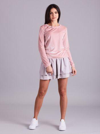 Jasnoróżowa welurowa bluza damska