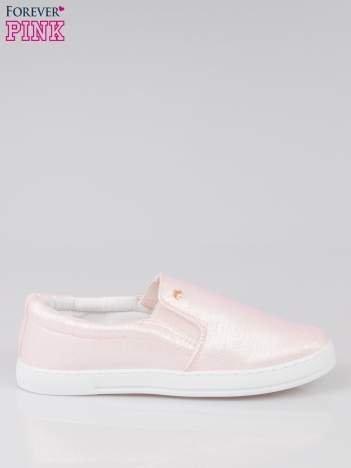 Jasnoróżowe buty sliponki glitter
