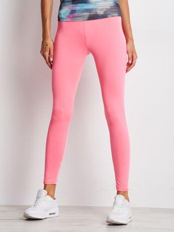 Jasnoróżowe długie cienkie legginsy do biegania