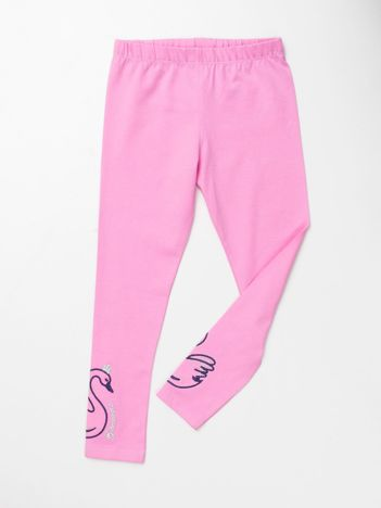 Jasnoróżowe legginsy dla dziewczynki z aplikacją