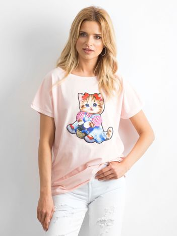Jasnoróżowy luźny t-shirt Sweetness