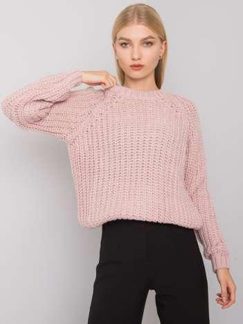 Jasnoróżowy sweter damski z dzianiny Grinnell RUE PARIS