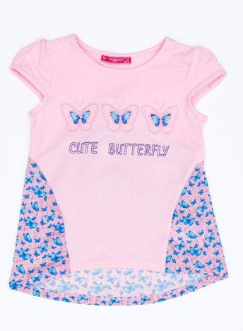Jasnoróżowy t-shirt dla dziewczynki z nadrukiem motyli