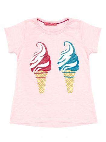 Jasnoróżowy t-shirt dziewczęcy z lodami