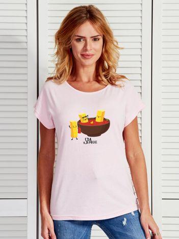 Jasnoróżowy t-shirt frytki i keczup