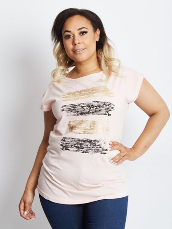 Jasnoróżowy t-shirt plus size Endemic