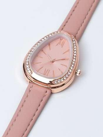 Jasnoróżowy zegarek damski z cyrkoniami