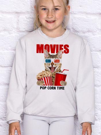 Jasnoszara bluza dziecięca MOVIES POPCORN TIME z kotem
