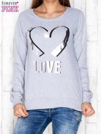 Jasnoszara bluza z napisem LOVE