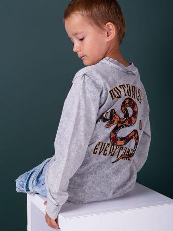 Jasnoszara bluzka chłopięca z nadrukiem z obu stron