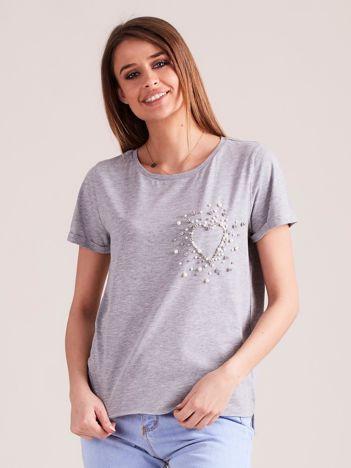 Jasnoszara bluzka z perełkami
