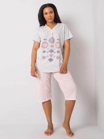 Jasnoszara dwuczęściowa piżama plus size