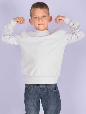 Jasnoszara gładka bluza dziecięca