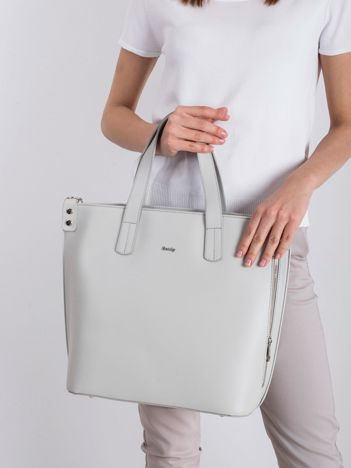 Jasnoszara skórzana torba damska