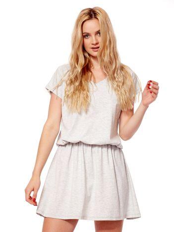 Jasnoszara sukienka V-neck z gumką w pasie