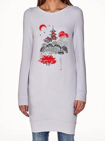 Jasnoszara tunika z japońskim printem