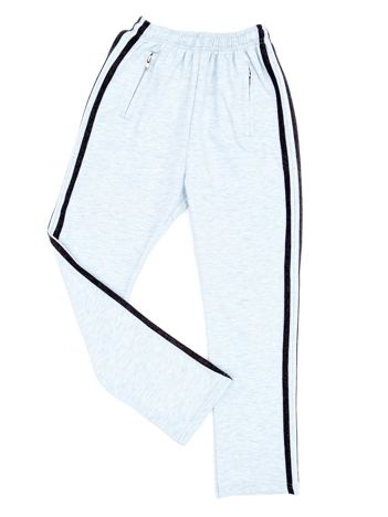 Jasnoszare dziecięce spodnie dresowe z kontrastowymi lampasami