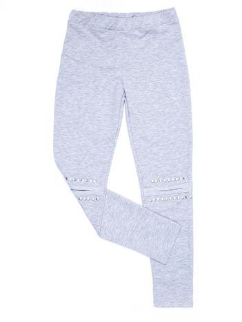 Jasnoszare legginsy dla dziewczynki z aplikacją na kolanach