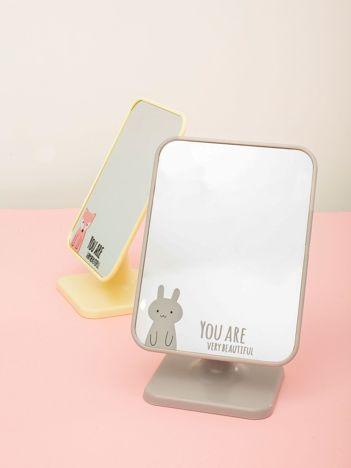 Jasnoszare składane lusterko kosmetyczne z napisem