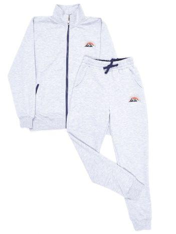 Jasnoszary dresowy komplet dziecięcy spodnie i bluza