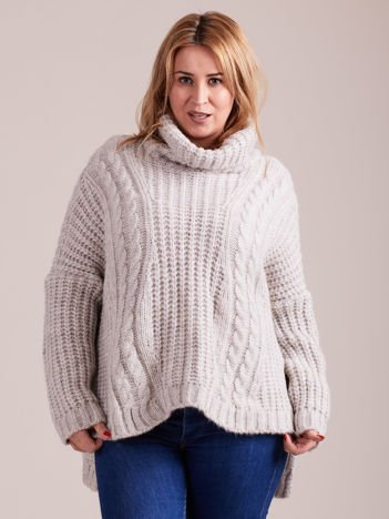 Jasnoszary luźny sweter w warkocze MAGPIE