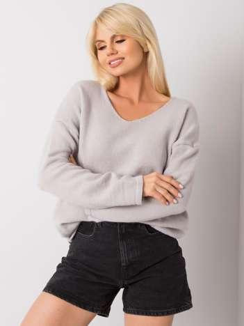 Jasnoszary sweter z dekoltem V Georgia
