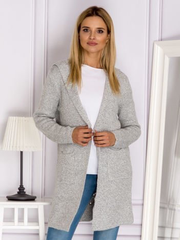 Jasnoszary sweter ze sznurowaniem z tyłu