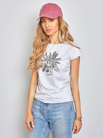 Jasnoszary t-shirt Floral