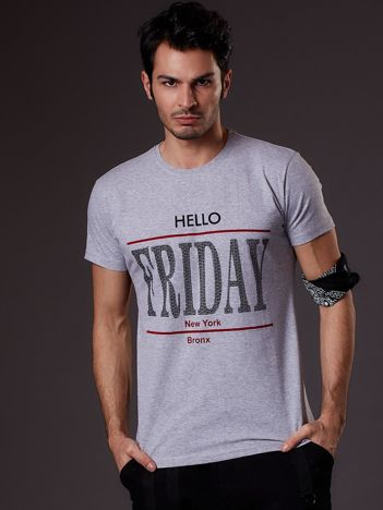 Jasnoszary t-shirt męski HELLO FRIDAY