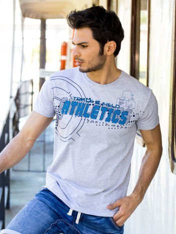 Jasnoszary t-shirt męski z motywem urban print