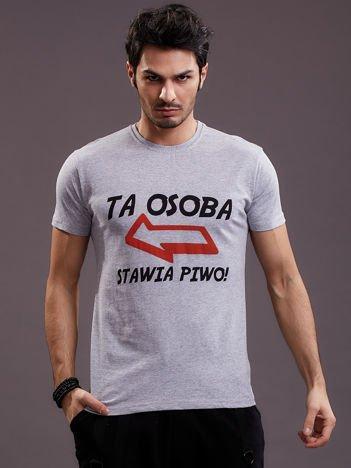 Jasnoszary t-shirt męski z zabawnym napisem