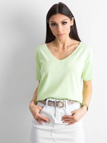 Jasnozielona bluzka V-neck