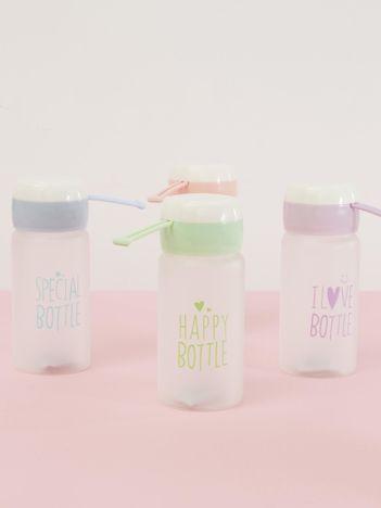 Jasnozielona ekologiczna butelka bidon z napisem