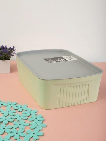 Jasnozielony matowy pojemnik plastikowy z pokrywą