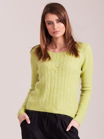 Jasnozielony sweter w warkocze z cekinami