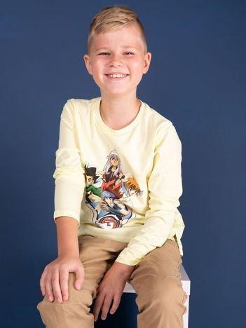 Jasnożółta bawełniana bluzka dla chłopca z nadrukiem