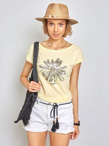 Jasnożółty t-shirt Floral